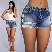 Wholesale charming hot sexy girls - 2017 Summer Vintage Ripped Dark Blue Denim Shorts Women Casual Pocket Jeans Shorts Plus Size Girl Hot Sexy and Charming