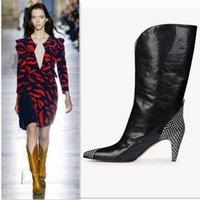 süet stiletto bot toptan satış-Siyah Süet Diz Yüksek Çizmeler Kadınlar Için Uzun Patik Ünlü Tasarımcı Marka Stiletto Topuklu Yarım Çizmeler Elbise Düğün Ayakkabı Büyük Boy 34-44