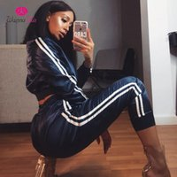 Wholesale cotton workout pants resale online – Solid Autumn Winter Jogging Suit Atin Sets Women Zipper Side Stripe Crop Tops Drawstring Calf Length Pants Sexy Workout Tracksuits V Neck