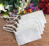 chaveiro quadrado branco venda por atacado-100 Pçs / lote 11 * 20 cm Sacos de lona de algodão branco Puro cosméticos DIY mulheres em branco saco de maquiagem com zíper saco de embreagem saco do telefone chaveiro