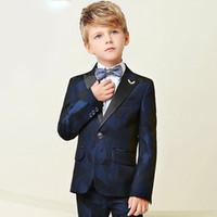 baby blue anzüge hochzeiten groihandel-Hohe Qualität 2018 Neue Ankunft Mode Baby Jungen Kinder Blazer Jungen Anzug Für Hochzeiten Prom Formale Dunkelblau Kleid Hochzeit Jungen Anzüge