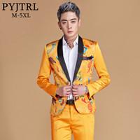 traje de dragão amarelo venda por atacado-PYJTRL Homens Xaile Lapela Estilo Chinês Azul Royal Ouro Amarelo Vermelho Dragão Blazer Cantores de Palco Desgaste do Traje Terno Slim Fit Jaqueta