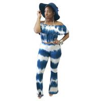 plus size long sleeve crop tops 2018 - Plus Size Tie Dye Print Long Jumpsuit Sexy Women Short Sleeve Ruffles Crop Top Wide Leg 2 Piece Set Overall Flare Pant Jumpsuits