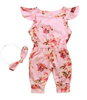 Wholesale trousers years for sale - Girl Baby Clothing Floral One Piece Jumpsuit Headwear Set Trousers Harem Pants Year p l