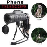 ingrosso treppiedi per lenti-Obiettivo del telefono per telescopio universale 40x60 Zoom HD Monoculare con clip e treppiede regolabile per telefono Bussola Telecamera da esterno per telescopio