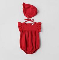 Wholesale red hat elegant for sale - Ins Baby kids summer Pieces Set girl cotton ruffles sleeve romper hat kids elegant clothing sets colors