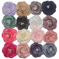 mehrfarbiges chiffongewebe großhandel-30 farbe Baby Mädchen 3 zoll (7,5 cm) Chiffon Stoff Blumen Für DIY stirnbänder DIY corsage Kind DIY Haar Styling Zubehör Headwear