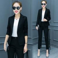 дизайн офисной одежды оптовых-Costumes for Women Trouser Suit 2018 Notched Office Uniform Designs Womens Business Suits Blazer with Pants Formal Ladies Wear