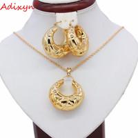 gül altın zümrüt taş takımı set toptan satış-Adixyn Hollow Küpe / Kolye / Kolye Takı Seti Gül Altın Renk Afrika / Hindistan Kadınlar Düğün Takı N05247