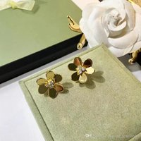 Wholesale large stainless steel jewelry for sale - Group buy Fashion three leaf flower six petal flower large earrings Brass jewelry plating K gold rose gold earrings