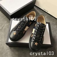 Wholesale pink trims - Ace Bees Embellished Leather Sneakers Watersnake-trimmed Loved Blind Crystal Stud Bee Embroid Lows Trainers Shoes 28 Luxury Brand
