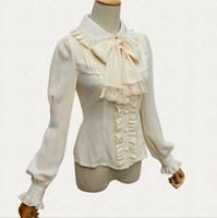 c13cb64987 Nova Lolita Camisa Chiffon Do Vintage Longo Lanterna Manga Mulheres Blusa  clássico lolita Lace Chiffon Bege   preto   branco Top Camisa