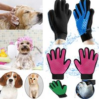 Wholesale massage hair gloves online - Silicone Pet Animal grooming Gloves Brush Glove Dog Cat Hair Grooming Tool Rubber Massage Cleaning Bath Glove For Dog Cat Horse STY7