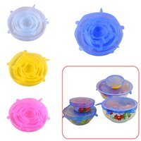 Wholesale Silicone Lids Covers - 6PCS Universal Silicone Suction Lid-bowl Pan Cooking Pot Lid-silicon Stretch Lids Silicone Cover Pan Spill Lid Stopper Cover DDA389