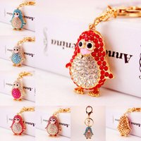 Wholesale Penguin Keychains - Penguin Keychains Crystal Key Ring Key Chains for Christmas Gift Handbag Car Keychian Penguin Pendant Keyring Free DHL D988Q