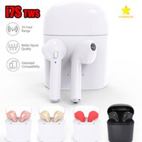 Wholesale Box Earphones - I7S TWS Bluetooth Headphone with Charger Box Twins Wireless Earbuds Earphones for iPhone X IOS iPhone Android Samsung with Retail Packing