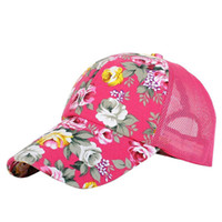 Wholesale nets snapbacks - Spring and summer new style Sunscreen Flower Snapbacks Ventilation Adjustable Hats lady Floral sunshade Net Peaked cap 6yl W