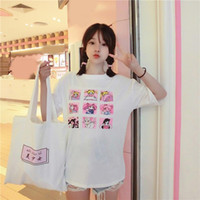 luna de marinero impresiones al por mayor-Kawaii T Shirt Summer Women Tops Harajuku Camisetas Imprimir Sailor Moon Loose Short Sleeve Plus Size Camiseta Femme