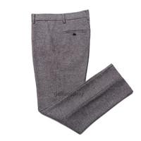 шерстяные брюки оптовых-Geliaocong 2017 мужчины высокого класса мода бизнес брюки Мужские Slim Fit костюм брюки мужская чистая шерсть повседневные брюки
