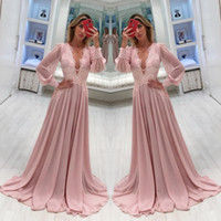 Wholesale red flowing evening dress online - Modest Sheer Long Sleeves Mother of Bride Groom Dresses A Line V Neck Flowing Chiffon Applique Mother Formal Evening Gowns Plus Size