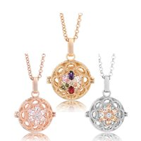 Wholesale harmony pendants - Angel Bola Pendants for Women 20.5mm New Flower Shape Diffuser Oil Cage CZ Interchangeable Harmony Caller Necklace Jewelry