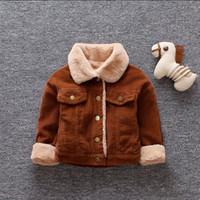 abrigo de bebé marrón al por mayor-Escudo de terciopelo grueso para niños, niñas y niños Chaquetas de invierno, manga larga, marrón, amarillo fresco, cálido, ropa de bebé, prendas de vestir para niños