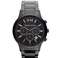 relógio digital preto dos homens venda por atacado-2017 Moda Mens Clássico Chronograph Gunmetal Ion Aço Preto dos homens Assista AR2453 ar2460 ar2461 + caixa original
