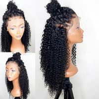 Wholesale Long Brown Human Hair Top - Grade 8A Top Quality Kinky Curly Full Lace Wigs Black Women 150 Density Brazilian Virgin Lace Front Human Hair Wigs With Baby Hair