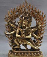 ingrosso ottone natale-Regali di Natale tempio buddismo tibet Joss brass 3 Head 6 Arms Hevajra Coppie statua di buddha