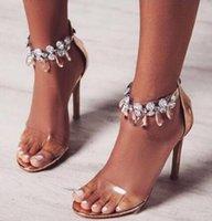 şeffaf kristal taşlar toptan satış-2018 Son Tasarım Taklidi PVC Şeffaf Stiletto Sandalet Ayakkabı Kristal Ayak Bileği Wrap Lady Yüksek Topuklar Ayakkabı Süet Seksi Dans Ayakkabıları