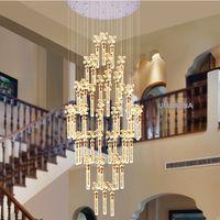 ingrosso lampadari a bolle di luce-Lampadario moderno LED Lampade K9 Crystal Bubble Bar Lampadari luci Apparecchio americano Big Long Stair Hanging Light Home Indoor Lighting