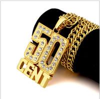 Wholesale Aa Circle - Hip Hop 18K gold AA diamond 50CENT Crucifix rap Pendant Necklace Bracelet Gold Sliver Fashion Jewelry Women Men Faith Necklace L1228010
