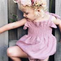 Wholesale Cute Jumpsuits - Cute Newborn Baby Girls Ruffle Romper Clothes 2018 Summer Cotton Sleeveless Halter Jumpsuit Outfits Toddler Kids Sunsuit