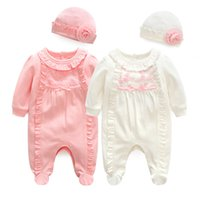 Wholesale baby red overalls resale online - Newborn Baby Girl Cotton Ruffle Footies piece Overall with Cap New Spring Red Pink Infant Girl Clothes Born m m t Gift