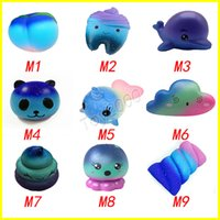 Wholesale movie candy - Star Sky Color Squishy toys Peach toothed panda clouds porpoise dolphin poop cotton candy whale octopus Slow Rising Rebound for kid toys