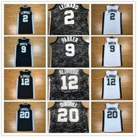 Wholesale Manu Black - CITY EDITION 2018 New san antonio Basketball Jersey 2 kawhi leonard 20 manu ginobili 12 lamarucs aldridge 9 tony parker Jerseys