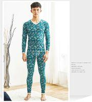 pijama camisa hombre al por mayor-Moda Ropa Interior Térmica Hombres Long Johns Set Algodón de Invierno Hombre Tight Pijama Set Tops Camisas Bolsa Pantalones de Fondo Lounge Ropa de Dormir