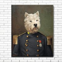 Wholesale pictures cartoon dogs - Animal cartoons dog military uniform canvas canvas print pictures of children's rooms on canvas