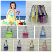 Wholesale square toy colors resale online - 24 cm Kids Beach Mesh Bag Shell Storage Net Bag Adjustable Straps Tote Toy Mesh Outdoor Handbag Colors AAA639