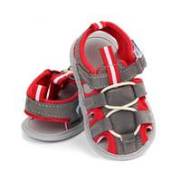 ingrosso sandali rossi infantili-Sandali di moda per bambini Scarpe di cuoio per bambini di estate per le ragazze Sandali per bambini di colore patch Sandali di cotone per neonati in cotone blu rosso