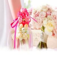 Wholesale red wrist corsage - Rose Wrist Corsage Bridesmaid Sisters hand flowers Artificial Bride Flowers For Wedding Party Decoration Bridal Prom Wh