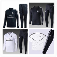 Wholesale tracksuit real - TOP THAI QUALITY new 2018-19 Real Madrid men's soccer chandal white football tracksuit 18 19 adult training suit skinny pants Sportswear