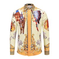 Wholesale printing color codes - New Products Flower Men's Casual Shirt 2018 Print Color Slim Medusa Silk Shirt Long Sleeve Asian Code Free Shipping M-2XL