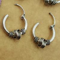antik gümüş hoop küpeler toptan satış-Vintage Antik Gümüş Yuvarlak Daire Hoop Küpe Kadın Erkek Tırnak kafa yüzük Küpe El Yapımı Punk Brincos Piercing Takı