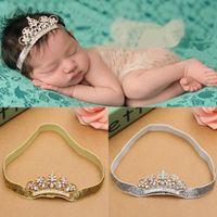 ingrosso belle ragazze corona-100PCS neonate principessa Tiara Pearl Crystal Crown Fascia per capelli fascia carino Hairband