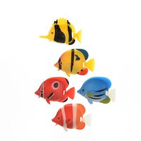 Wholesale Fake Plastic Fish - 1Pcs Kids Bath Toys Aquarium Artificial Fish Fake Tropical Fish Florating Moveable Tank Aquarium Decoration