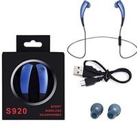 bluetooth наушники ожерелье беспроводной оптовых-S920 Bluetooth-гарнитура Спортивные наушники Стерео CSR4.0 чип Наушники с шумоподавлением Беспроводное ожерелье Стиль для Iphone7 7Plus note7 S7 edge