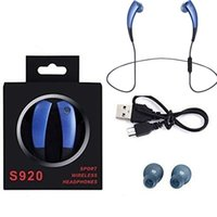 Wholesale chip necklaces - S920 Bluetooth Headset Sport Earphone Stereo CSR4.0 chip Headphones Noise Reduction Wireless Necklace Style for Iphone7 7Plus note7 S7 edge