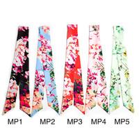 Wholesale digital printing silk scarves - 5 color digital printing silk scarf bag handle scarves small ribbon decorative scarf bag with ladies scarf wholesale
