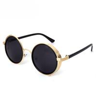 Wholesale steampunk cyber goggles - Women Retro Steampunk Sunglasses Men Mirror Lens Round Sun Glasses Cyber Goggles Brand Design UV400 Eyewear